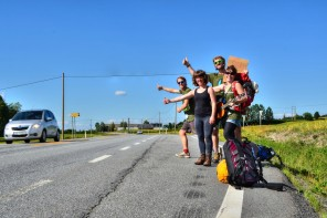 Four hitchhikers, one guitar